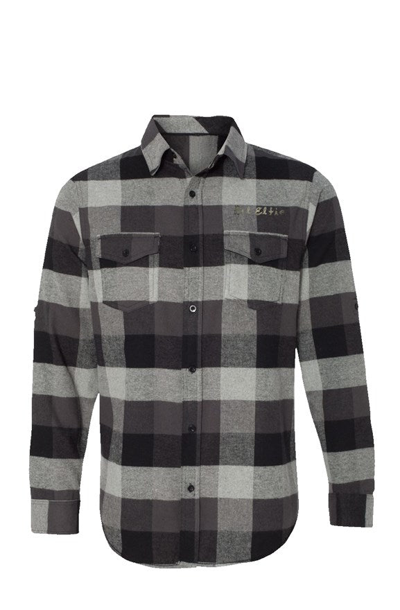 New 1 Long Sleeve Flannel Grey And Black