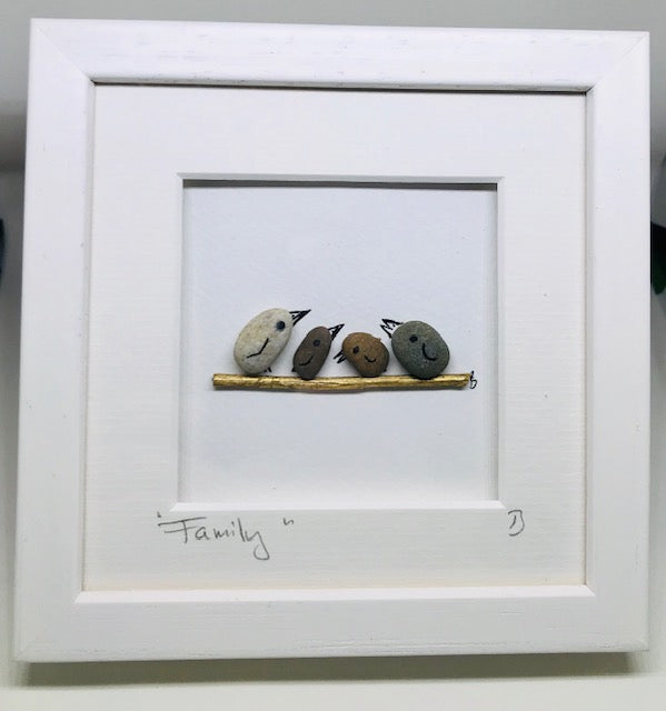 Family of Four - Pebble Art