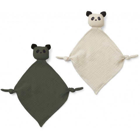 YOKO MINI CUDDLE CLOTH - PANDA HUNTER GREEN / SANDY MIX (2 PACK)