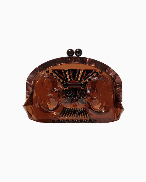 Vinyl Chloride Cloth Gama-guchi Clutch Bag - brown