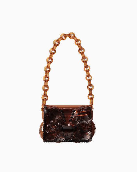 Vinyl Chloride Cloth Mini Chain Bag - brown