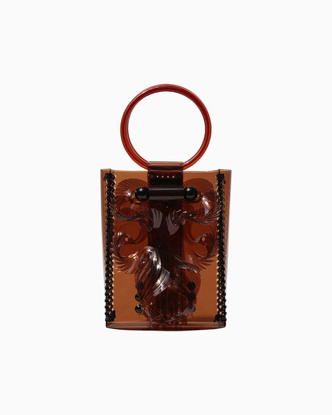 Vinyl Chloride Mini Hand Bag - brown