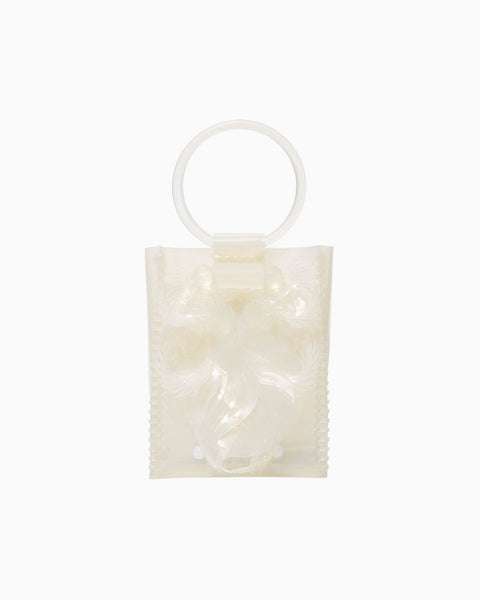 Transparent Sculptural Mini Handbag - white