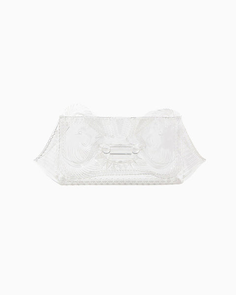 Vinyl Chloride Cloth Clutch Bag - clear