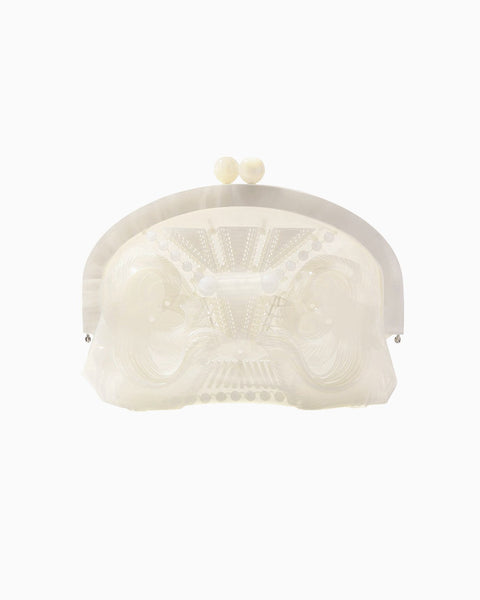 Vinyl Chloride Cloth Gama-guchi Clutch Bag - white