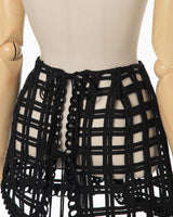 Cording Embroidery Wrapped Skirt - black