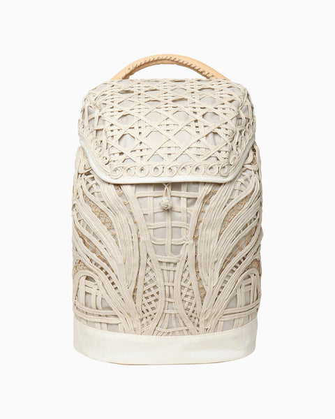 Cording Embroidery Backpack - beige
