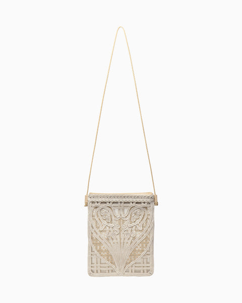 Cording Embroidery Pouch With Leather Strap - beige