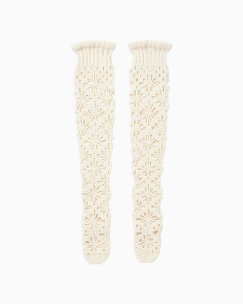 Hand Knitted Chunky Lace Socks - white