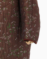 Floral Jacquard Coat - brown
