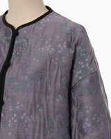 Floral Jacquard Coat - purple