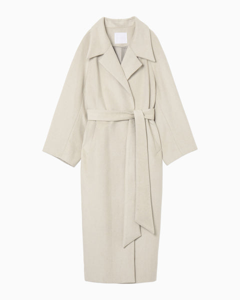 Silk Wool Shaggy Belted Long Coat - white
