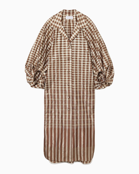 Chequered Puff Sleeve Dress - brown