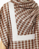 Chequered Draped Tunic - brown