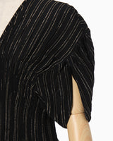 Shimmering Striped Shirring Dress - black