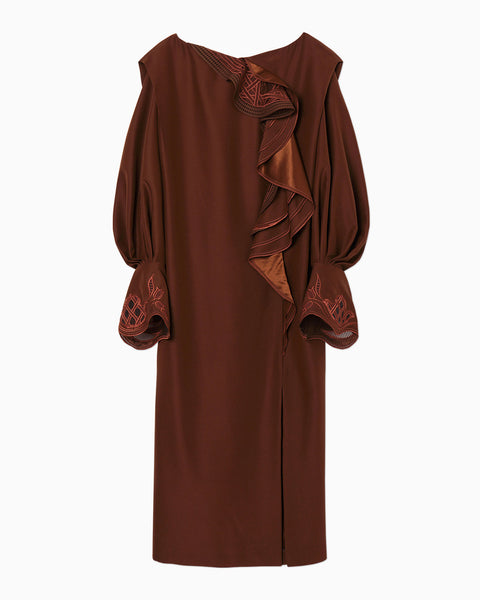 Embroidered Drape Dress - brown
