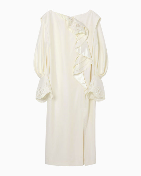 Embroidered Drape Dress - white