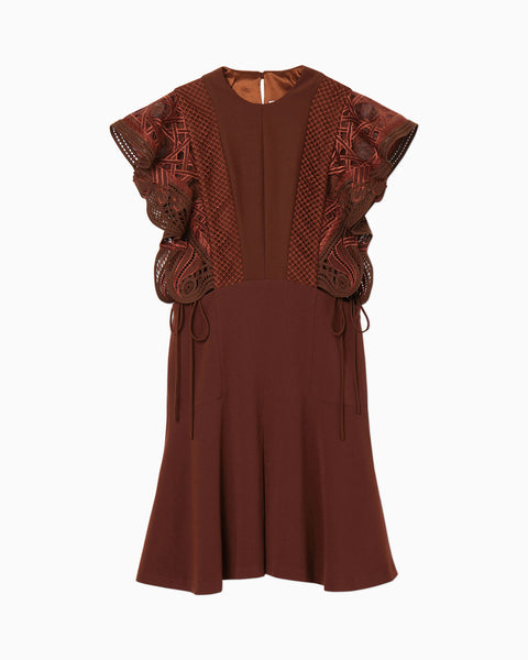 Embroidered Dress With Ribbon Detailing - brown