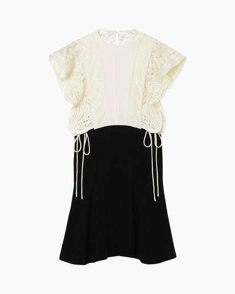 Embroidered Dress With Ribbon Detailing - white × black