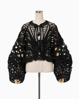 Cording Embroidery Short Jacket - black
