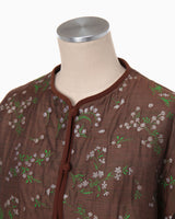 Floral Jacquard Jacket - brown