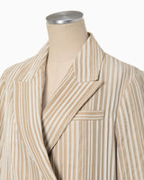 Ribbon Stripe Double Breasted Blazer - beige
