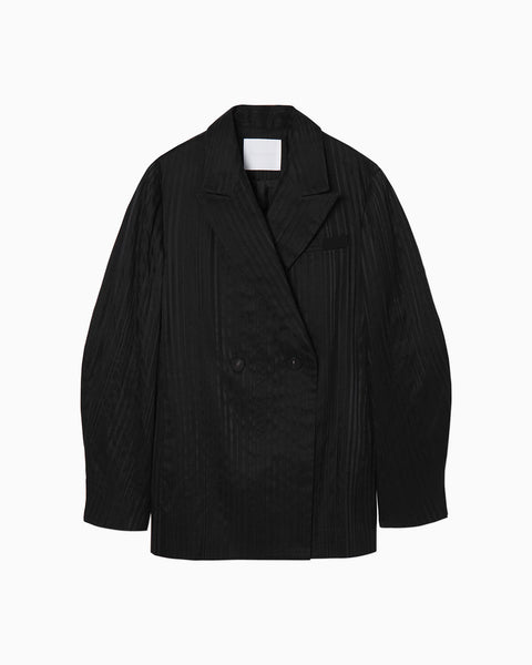 Ribbon Stripe Double Breasted Blazer - black