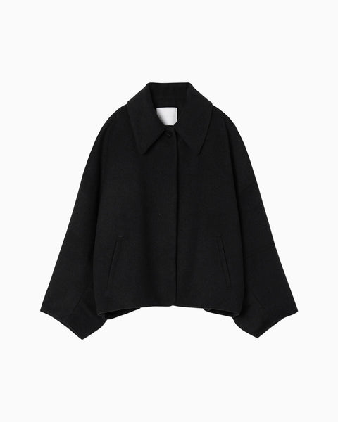 Silk Wool Shaggy Jacket - black