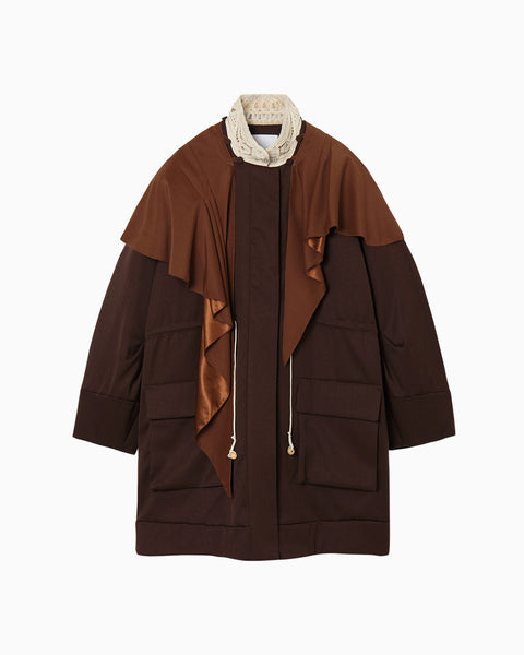 Embroidered Collar Military Jacket With Detouchable Scarf - brown