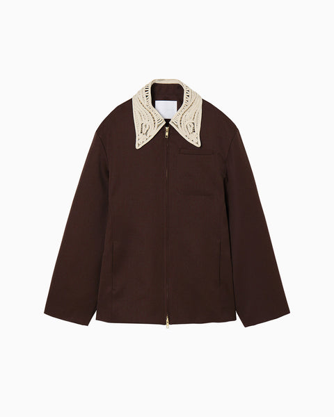 Embroidered Collar Zip Up Jacket - brown