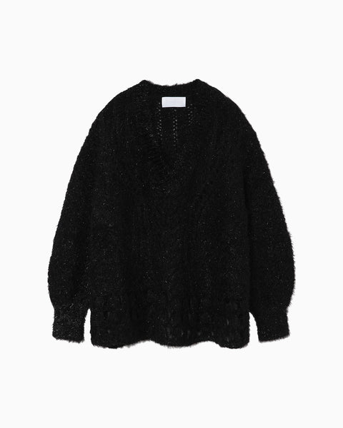 Floral Mohair Knitted Pullover - black