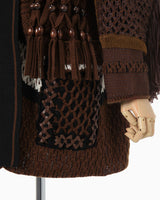 Artisanal Multi Basketweave Knitted Jacket - brown