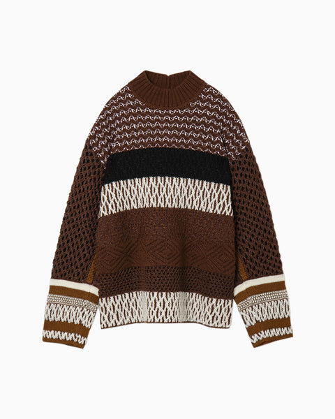 Artisanal Multi Basketweave Knitted Pullover - brown