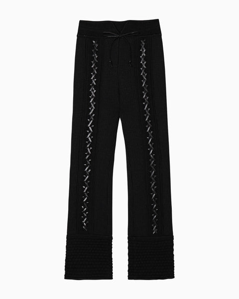 Braided Knitted Pants - black