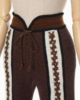 Braided Knitted Pants - brown