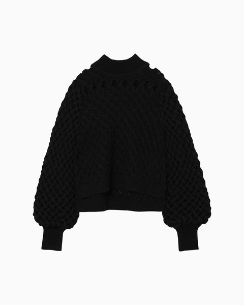 Plaid Knitted Pullover - black