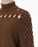 Plaid Knitted Pullover - brown