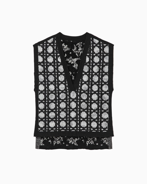 Reversible Knitted Vest - black