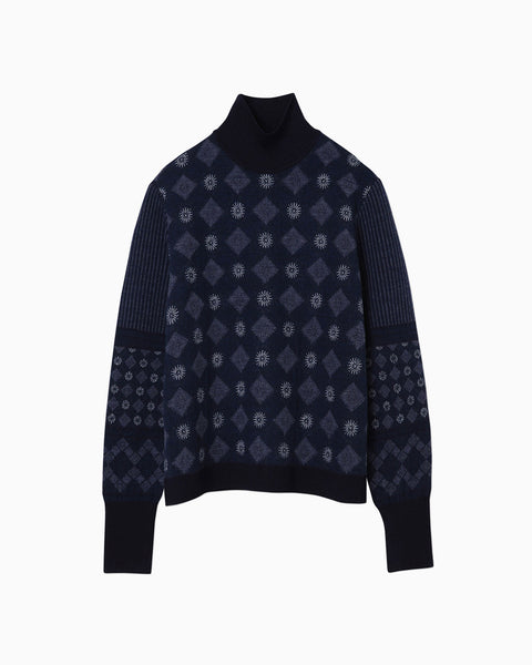 Chequered Pattern High Neck Pullover - navy