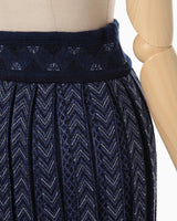 Pleated Knitted Skirt - navy