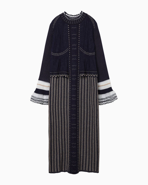 Layered Knitted Dress - navy