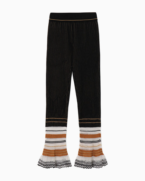 Rib Jacquard Knitted Pants - black