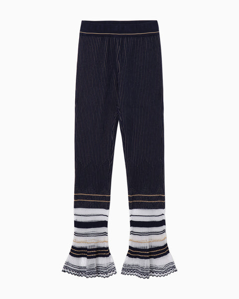 Rib Jacquard Knitted Pants - navy