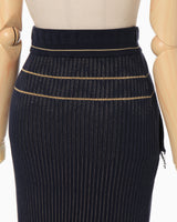 Rib Jacquard Knitted Skirt - navy