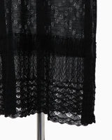 Sheer Lace Knitted Dress - black
