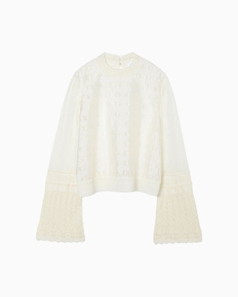 Floral Cut-Jacquard Top With Knitted Sleeves - white