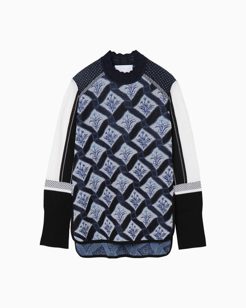 Floral Check Knitted Pullover - navy