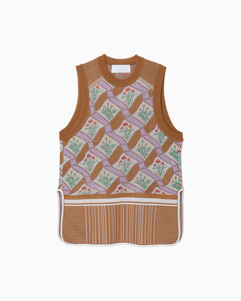 Floral Check Knitted Vest - brown