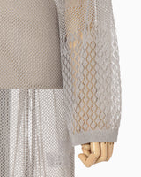 High Neck Mesh Dress - white