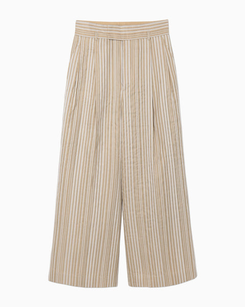 Ribbon Stripe Pants - beige
